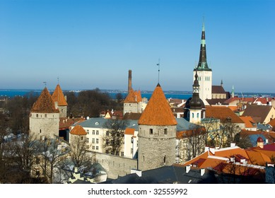 Old Tallinn panorama with Baltic sea on background
