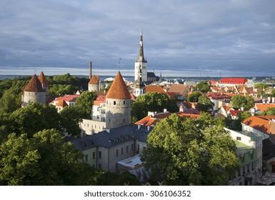 Old Tallinn under low clouds