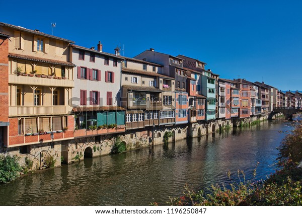 Old tanners houses on the Agout river in Castres, Southern France