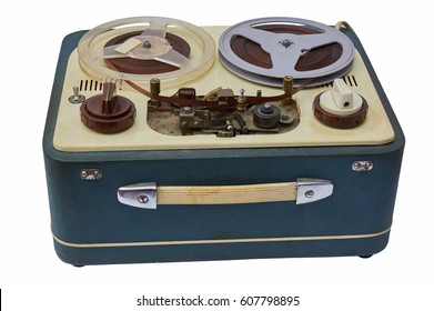 Old tape analog recorder on a white background