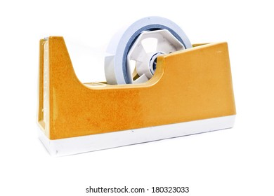 Old tape holder isolated over white background