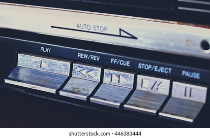 Old tape recorder play cassette audio vintage retro volume sound style 90s 80s 70s