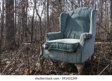 old tattered wingback chair in forest