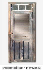 Old tatty wooden door with flaking paint in sunshine on white background