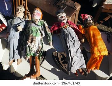 Old tchantches on a flee market in Liège, Belgium