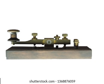 old telegraph machine in white isolated
