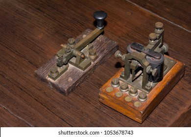 The old telegraph on wooden table
