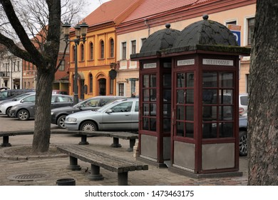 Old telephone booths in Kaunas, Lithuania