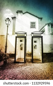 Old telephone boots in a village