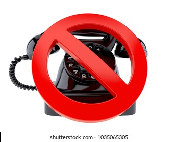 Old telephone with forbidden sign isolated on white background. 3d illustration