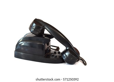 Old telephone isolated on white background.