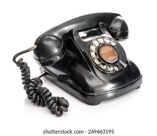 Old telephone on white background.