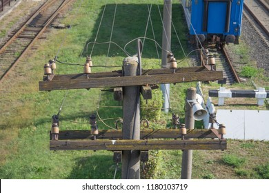 old telephone pole with wires, close up view