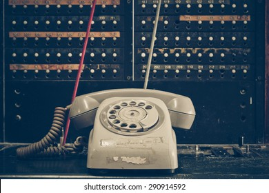 old telephone with switchboard operator