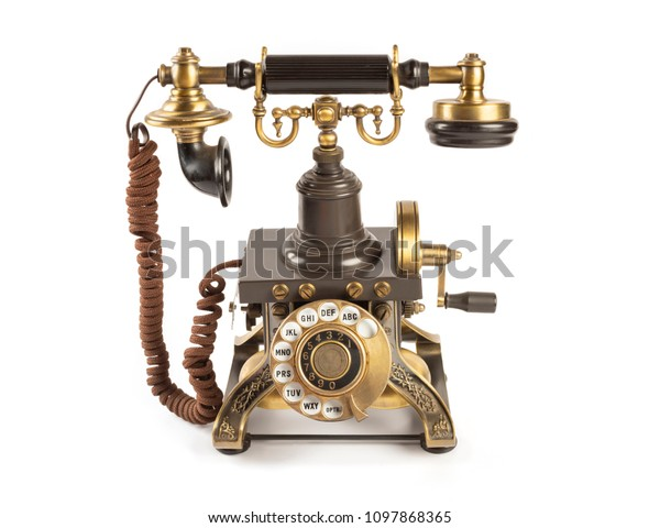 Old Telephones On White Background Stock Photo (Edit Now
