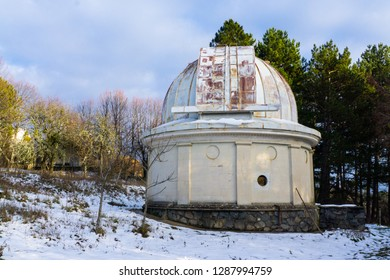 The old telescope of the Crimean Astrophysical observatory in winter