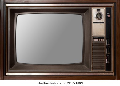 Old Television with blank screen. ( With screen clipping path).