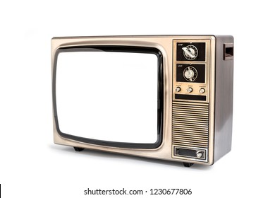 Old television with clipping path isolated on white background, vintage Retro style tv technology
