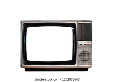 Old television with clipping path isolated on white background.