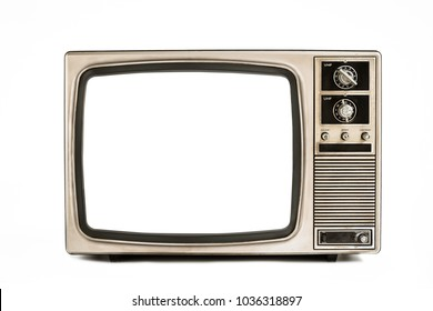 Old television isolated on white background,retro vintage tv style