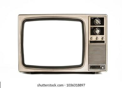 Old television isolated on white background,retro vintage tv style