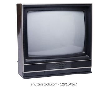Old television isolated in a white background
