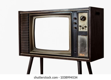 Old television on white wall background, Classic retro old tv technology with wood case.