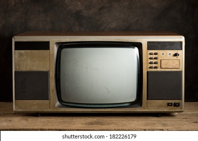 old television on old wood table