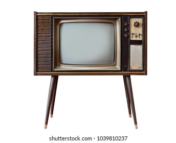 Old television stand on white background, Classic retro old tv technology with wood case.