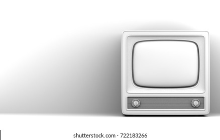 Old television  white background 3D illustration