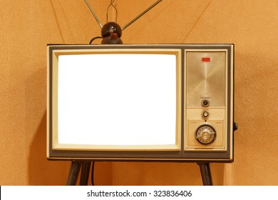 old television with white screen