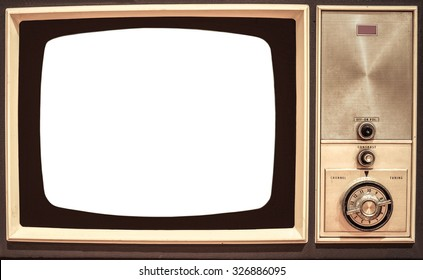 old television with white screen to add text or image