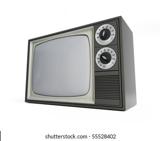 old televisor isolated on a white background