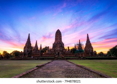Old Temple Ayuthaya Thailand, Wat Chaiwatthanaram Temple of Ayutthaya Province. Ayutthaya Historical Park, Thailand.
