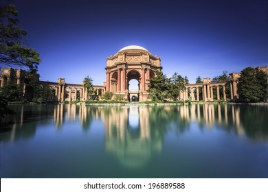 Old temple monument and water reflection in San Francisco