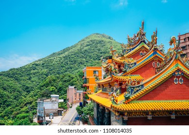 Old temple and street in Jiufen, Taiwan