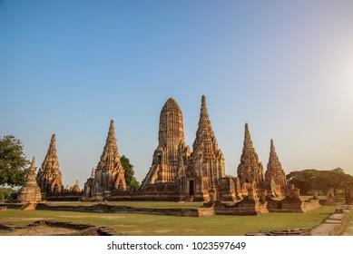 Old Temple, Wat Chaiwatthanaram Temple of Ayuthaya Province( Ayutthaya Historical Park ),Thailand