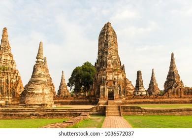 Old Temple; Wat Chaiwatthanaram Temple of Ayuthaya Province ( Ayutthaya Historical Park ) Thailand