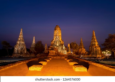 Old Temple Wat Chaiwatthanaram in Ayutthaya, Thailand at night with sky colorful.