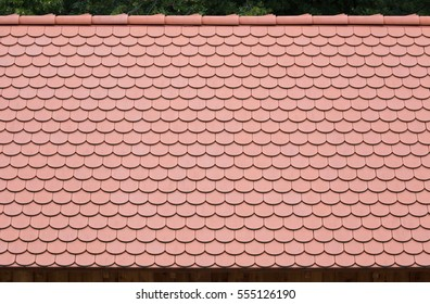 Old terracotta roof tiles, close-up