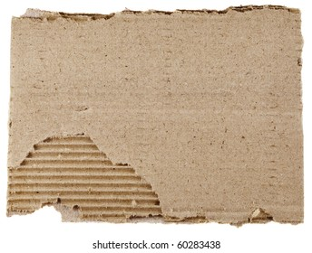 old textured cardboard sheet with torn edges isolated over white