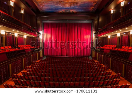 an old theater auditorium, interior