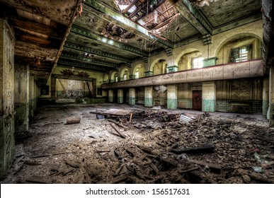 old theater in destroyed russian barracks in former eastern germany