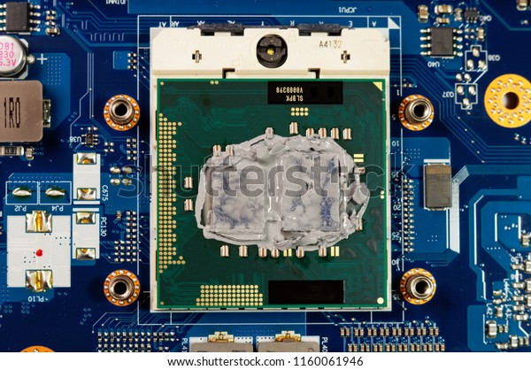 Old Thermal Paste On Laptop Cpu Stock Photo (Edit Now