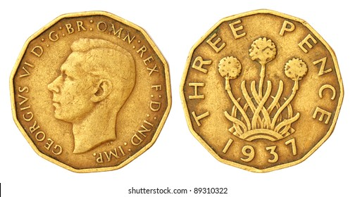 Old Three Pence Coin of 1939