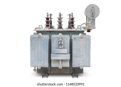 Old three phase open type oil immersed transformer with radiator fin and conservator tank, isolated on white background with clipping path