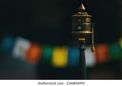 Old Tibetan prayer wheel used to accumulate wisdom and good karma and to purify bad karma.