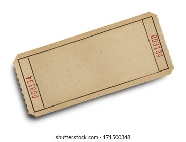 Old Ticket with Copy Space Isolated on White Background.