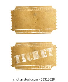 Old ticket isolated on white