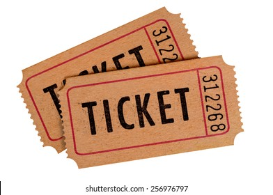 Old ticket : pair of vintage brown movie tickets isolated.